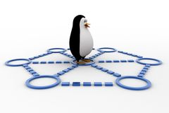 3d penguin doing race and about to cut ribbon concept Stock Photography