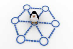 3d penguin doing race and about to cut ribbon concept Stock Image