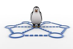 3d penguin doing race and about to cut ribbon concept Stock Photo