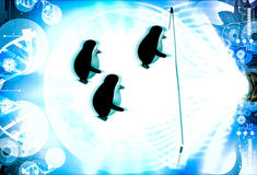3d penguin doing race and about to cut ribbon illustration Royalty Free Stock Photos