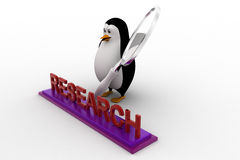 3d penguin doing research using magnifying glass concept Royalty Free Stock Photos