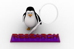 3d penguin doing research using magnifying glass concept Royalty Free Stock Image