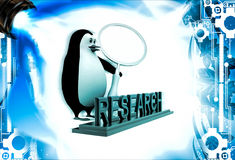 3d penguin doing research using magnifying glass illustration Royalty Free Stock Images