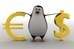 3d penguin with dollar and euro symbol concept Royalty Free Stock Photos