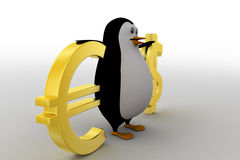 3d penguin with dollar and euro symbol concept Stock Photos