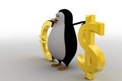 3d penguin with dollar and euro symbol concept Royalty Free Stock Photo