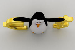 3d penguin with dollar and euro symbol concept Royalty Free Stock Images