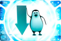 3d penguin with down side golden arrow illustration Stock Image