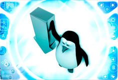 3d penguin with down side golden arrow illustration Royalty Free Stock Photo