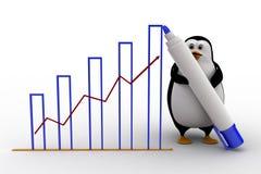 3d penguin draw growth graph concept Stock Images