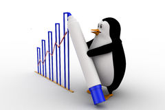 3d penguin draw growth graph concept Royalty Free Stock Photography