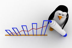 3d penguin draw growth graph concept Stock Photography