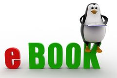 3d penguin with ebook text concept Stock Image