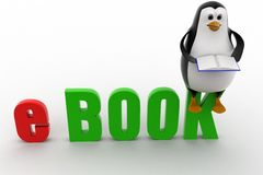 3d penguin with ebook text concept Stock Images