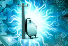3d penguin electric poll concept Stock Photography