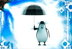 3d penguin with english hat and black umbrella illustation Stock Photography