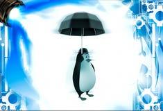 3d penguin with english hat and black umbrella illustation Stock Image