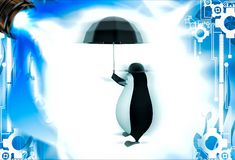 3d penguin with english hat and black umbrella illustation Stock Photos