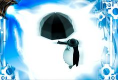 3d penguin with english hat and black umbrella illustation Royalty Free Stock Photography
