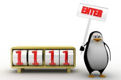 3d penguin with enter concept Royalty Free Stock Image