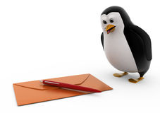 3d penguin with envelop and pen concept Royalty Free Stock Photography
