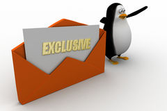 3d penguin with exclusive letter Stock Photography