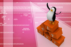 3d penguin with export cargo Illustration Royalty Free Stock Photos