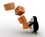 3d penguin fall gifts from its hand concept Stock Photo