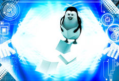 3d penguin falling files from hand illustration Royalty Free Stock Photo