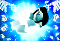 3d penguin falling files from hand illustration Royalty Free Stock Image