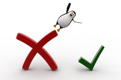 3d penguin falling from wrong symbol to right symbol concept Royalty Free Stock Photography