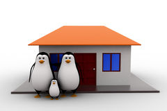 3d penguin family with house concept Stock Images