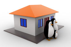 3d penguin family with house concept Royalty Free Stock Photography