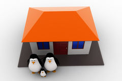 3d penguin family with house concept Stock Photography