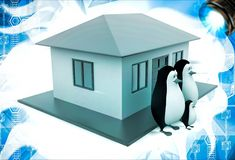 3d penguin family with house illustation Stock Photography