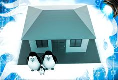3d penguin family with house illustation Royalty Free Stock Photos