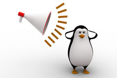 3d penguin feel headche can not hear loud noise from speaker concept Stock Photography