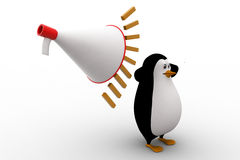 3d penguin feel headche can not hear loud noise from speaker concept Stock Images