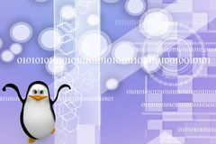 3D penguin felling happy Illustration Stock Images
