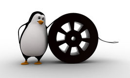 3d penguin with film roll concept Stock Images