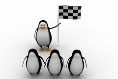 3d penguin with finish flag Royalty Free Stock Photography