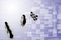 3d penguin with finish flag Illustration Stock Images