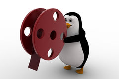 3d penguin with almost finished film roll concept Royalty Free Stock Image