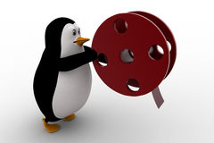 3d penguin with almost finished film roll concept Royalty Free Stock Photos