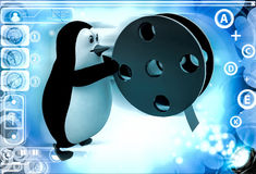 3d penguin with almost finished film roll illustration Stock Photography