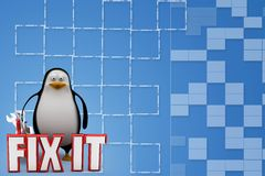 3d penguin with Fix it concept Illustration Stock Photography