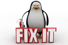 3d penguin with Fix it concept Royalty Free Stock Photography
