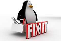 3d penguin with Fix it concept Royalty Free Stock Photo
