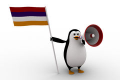 3d penguin with flag and loud speaker concept Stock Image