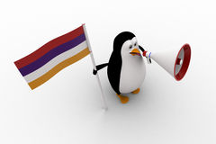 3d penguin with flag and loud speaker concept Royalty Free Stock Photography